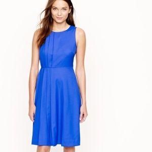 J. Crew Blue Pleated Dress Super 120s Wool